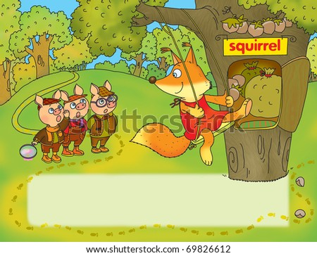 three little pigs suspected of stealing a cabbage squirrel - stock photo