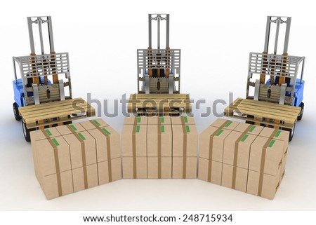 Three loaders without cargo. 3d image on a white background - stock photo