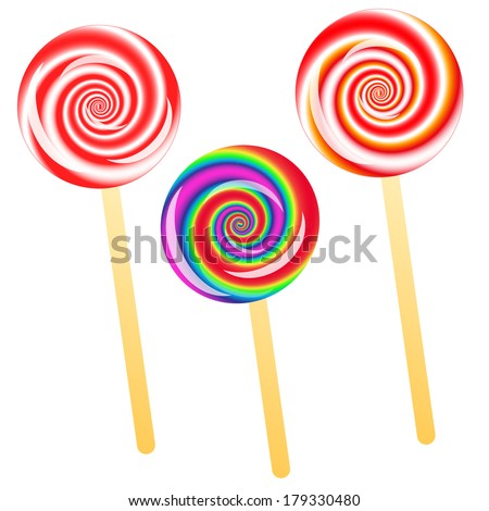 three lollipops isolated on the white phone