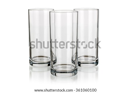 three Long drink glasses isolated