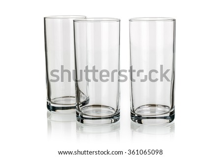 Three long drink glasses isolated - stock photo