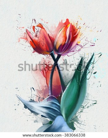 Three luxurious Tulip, with a splash of spray paint, printable cards, clothing and various accessories - stock photo