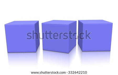 Three magenta aligned 3d blank concept boxes with shadows isolated on white background. Rendered illustration. - stock photo