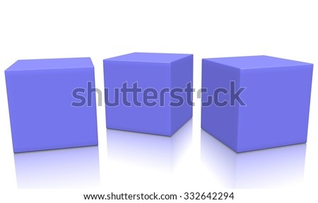 Three magenta 3d blank concept boxes next to each other, with reflection, isolated on white background. Rendered illustration. - stock photo