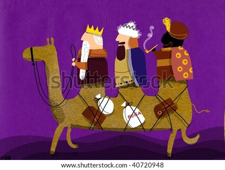 Three Magi mounted on a camel with three humps