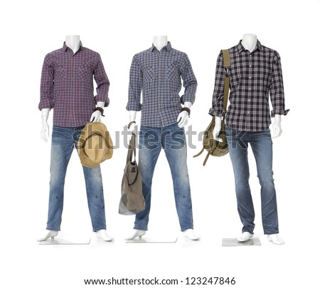 three male mannequin dressed in jeans with bag, hat