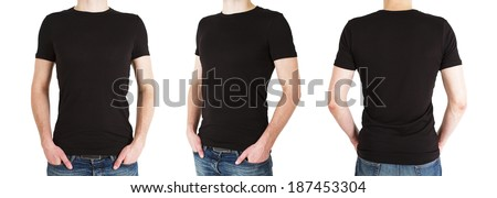 three man in black polo t-shirt on a white background - stock photo