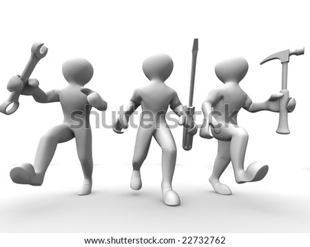 Three man with tools. Maintenance. 3d - stock photo