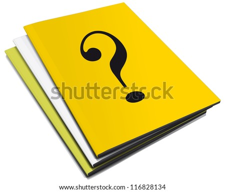 Three manuals with question mark - stock photo