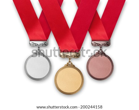 Three medals - gold, silver and bronze