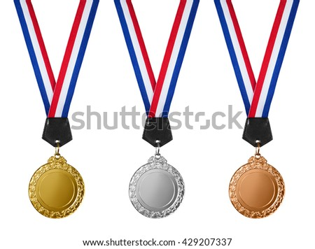Three medals - gold, silver and bronze isolated on white