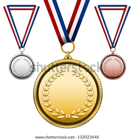 Three Medals Gold Silver bronze with blank face isolated on white