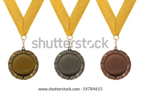 three medals isolated over white. gold silver bronze - stock photo
