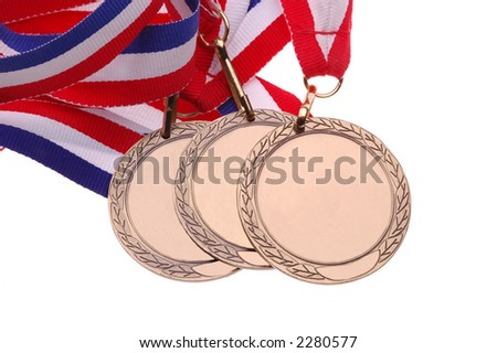 Three Medals with red, white & blue ribbons