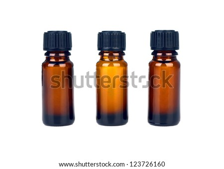 Three medicine bottles isolated on white background - stock photo