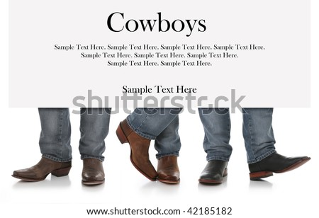 Three Men in Cowboy Boots with Sign above for text - stock photo