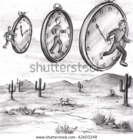 Three men in various relationships to time clocks in the sky of a desert.  First steps into past time. The middle is in the present. Man on right stepping out of time or into the future. - stock photo