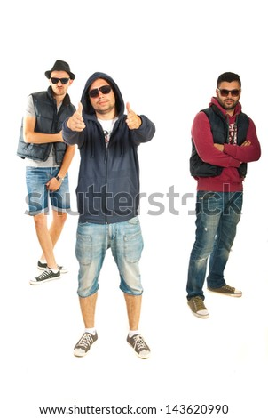 Three men rappers gesticulate isolated on white background - stock photo