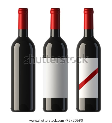 three merged pictures of bordo shape red wine bottles with blank labels and without label, 3D. - stock photo