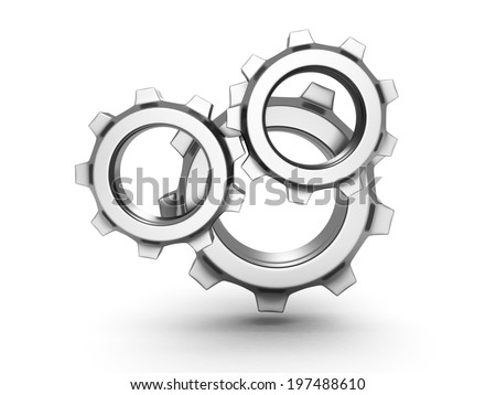 three metal gears on white background. 3d render illustration - stock photo