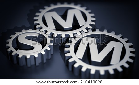 Three metal gears with SMM letters inside - stock photo