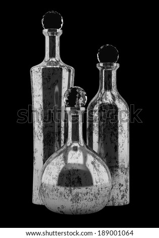 three metallic bottles isolated on black background