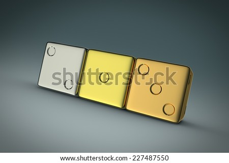 three metallic dices - stock photo