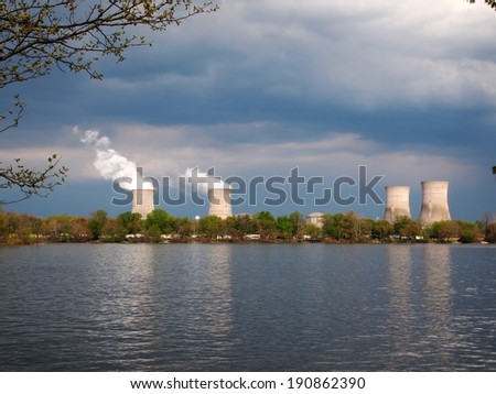 THREE MILE ISLAND - MAY 3: Three Mile Island Nuclear Power plant cooling towers on May 3, 2014 in Three Mile Island.  - stock photo