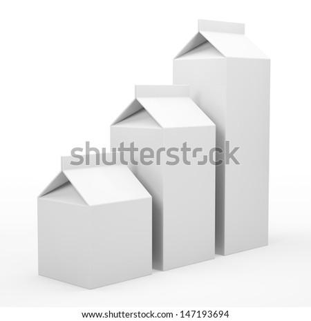Three milk box isolated on white background 3D - stock photo