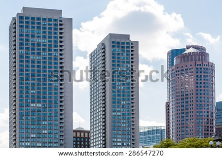 Three modenr office towers in Boston - stock photo