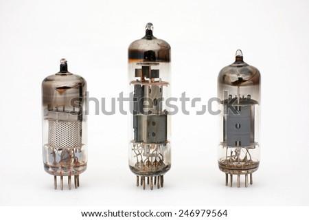 three modern electronic tubes, vacuum tubes - stock photo