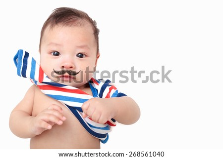 three month asian baby,asian infant with beard,hipster - stock photo