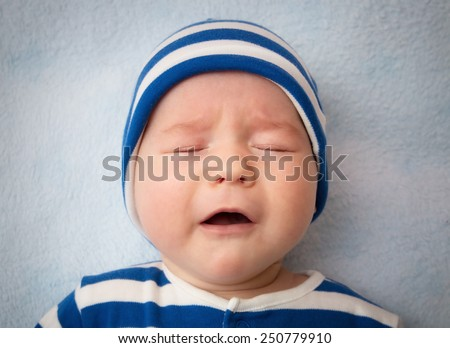 Three month old crying baby - stock photo