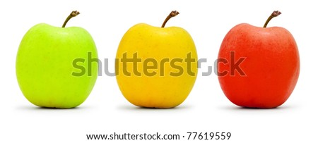 Three multi-colored apples isolated on white