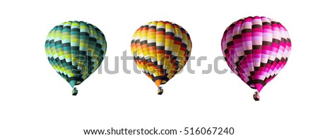 Three multi-colored balloons on a white background