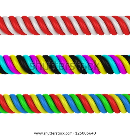 Three multicolored, CMYK and red-white spirals isolated on the white background - stock photo