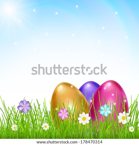 Three multicolored eggs in grass with flowers on sky background with sun and rainbow. Raster version. - stock photo
