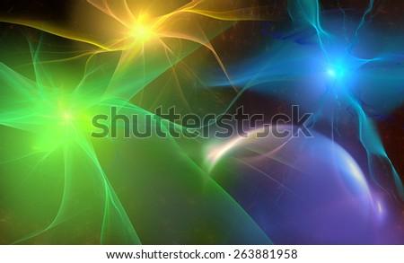 Three multicolored sun - stock photo