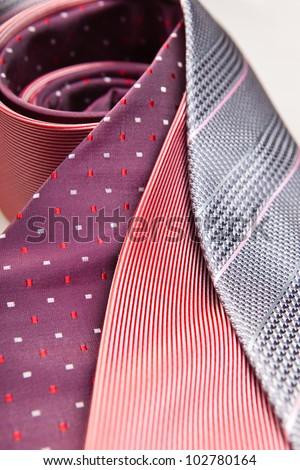 three necktie close up - stock photo
