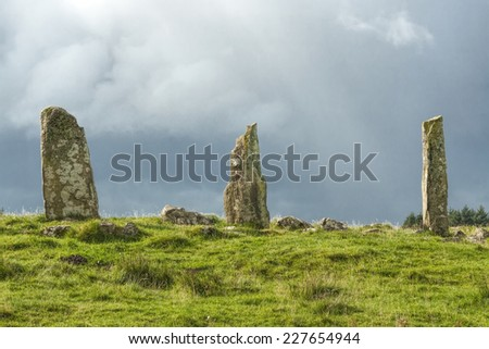 Three neolithic standing stones, on the Isle of Mull, Scotland - stock photo