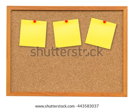 Three note paper on Cork board isolated on white with clipping path.