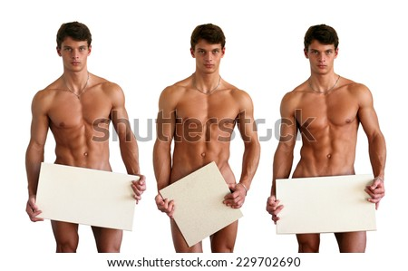 Three nude muscular men covering with copy space blank signs isolated on white  - stock photo