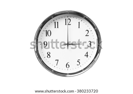 Three o'clock on the white wall clocks (isolated) - stock photo