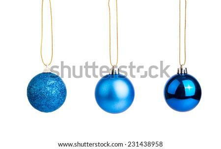 Three of blue christmas tree baubles  isolated on white background - stock photo