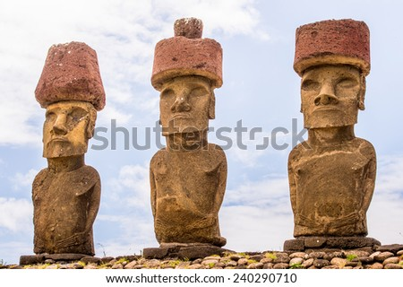 Three of Seven Ahu Akivi Moai,only Moai facing the sea, Rapa Nui, Easter Island, Chile. - stock photo