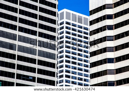 Three Office building with many windows - stock photo