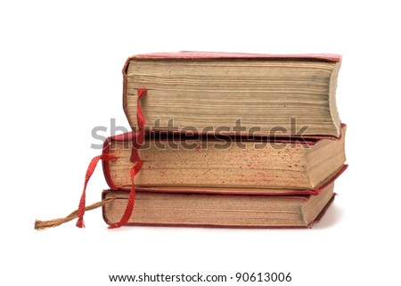 Three Old book on white background - stock photo