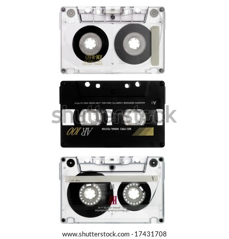 three old cassettes isolated on white