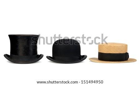 three old hats originated former - stock photo