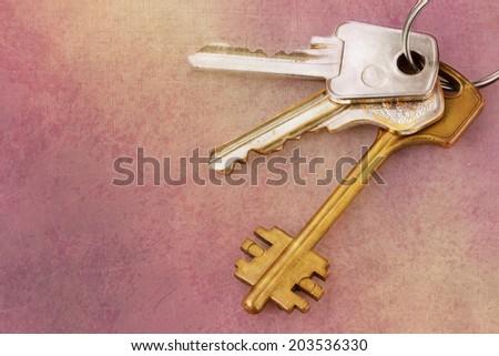 Three old house keys on keyring over grunge background - stock photo